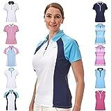 Under Par Damen Golf Pro Qualität Atmungsaktiv Wicking 5 Styles 10 Farben Ärmel & Ärmellos Golf Polo Shirt M Style 1673 - Weiß/Marineblau/Sommerblau