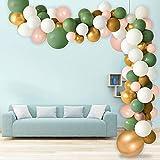 Zsroot Ballon Girlande Set,115 Stück Green Geburtstagsdeko Luftballons mit Gold Weiß Rosa Luftballons,Geburtstag Hochzeit Baby Shower Taufe Party Dekorationen