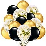 50 Luftballons Gold Schwarz mit Gold Konfetti Ballons für Deko Party Feier Dekoration für Geburtstag, Geburtstagsdeko und Neujahr