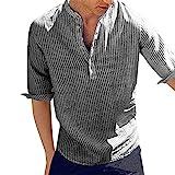 Dasongff Herren Hemd Kurzarm Stehkragen Freizeithemd Streifen Hemden Sommerhemd Businesshemd Sommer Slim Fit Casual Leicht Shirts Einfarbig Basic Men´s Shirt für Männer
