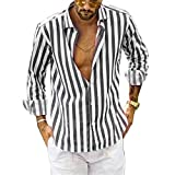 UMore Hemd Herren Langarm Freizeithemd Businesshemd Regular Fit Herren-Hemd Slim-Fit Langarm-Hemden Streifen Hemden für Männer