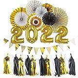 EASY JOY 2022 Neujahr Dekoration Silvester Schwarz Gold Folienballons 2022 Silvesternacht Deko